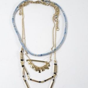 Lee by Lee Angel Gold tier Blue Tiered Necklace